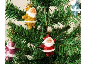 Vánoční dekorace- krásné ozdoby na Vánoční stromeček Santa 6ks- VÝPRODEJ SKLADU