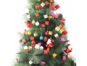 Vánoční dekorace- mini dekorační dárečky na drátku 12ks na zdobení květináčů, věnců, vánoční stromeček více barev- VÝPRODEJ SKLADU