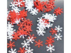 Vánoční dekorace- krásné vločky červené, bílé 100ks- VÝPRODEJ SKLADU