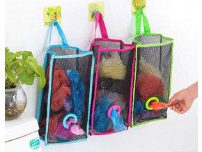 Kuchyně- závěsný organizér na igelitové tašky 3 barvy- VÝPRODEJ SKLADU