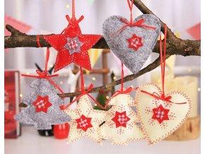Vánoční dekorace- krásné dekorace na stromeček 3ks šedé, červené, bílé- VÝPRODEJ SKLADU