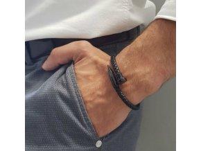 Pro muže- krásný kožený náramek černý 19cm- Vhodný jako dárek k Vánocům