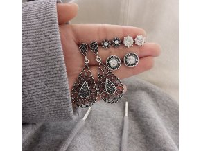 Pro ženy- set elegantních náušnic s kamínky 4páry - Vhodný jako dárek k Vánocům