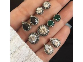 Pro ženy- set elegantních malých náušnic s kamínky 5páru - Vhodný jako dárek k Vánocům