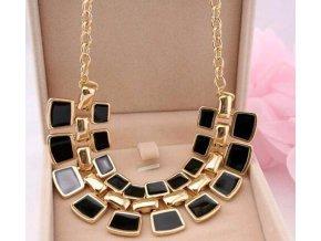 Pro ženy- luxusní velký náhrdelník černý na svatbu nebo ples- AKCE
