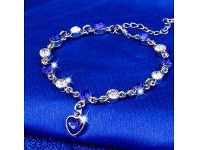 Pro ženy- elegantní náramek modrý s kamínky- Vhodný jako dárek k Vánocům pro přítelkyni
