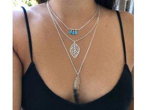 Pro ženy- dlouhý řetízek modrý s kamínky- Vhodný jako dárek k Vánocům pro přítelkyni