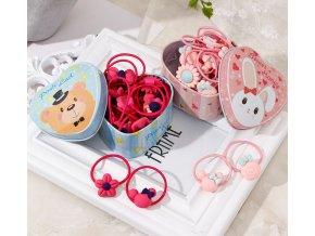 Pro dívky- gumičky do vlasů 20ks v dárkové mini dóze- výprodej skladu- Dárky k Vánocům