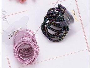 Pro dívky- třpytivé barevné gumičky do vlasů 10ks růžové, černé- Výprodej skladu