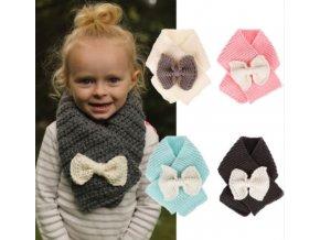 Dětské oblečení- pletené krásné šály s mašlí, více barev- Vhodný jako dárek k Váncům