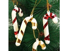 Vánoční dekorace- lízátka na stromeček 6ks, Vánoční výzdoba- VÝPRODEJ SKLADU