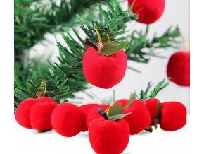 Vánoční dekorace- červená jablíčka 12ks jako Vánoční dekorace na stromeček 12ks- VÝPRODEJ SKLADU