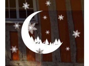 Vánoční dekorace- vánoční samolepka MĚSÍC- VÝPRODEJ SKLADU