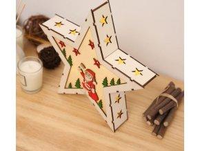 Vánoční dekorace - vánoční dřevěná LED svítící hvězda- VÝPRODEJ SKLADU