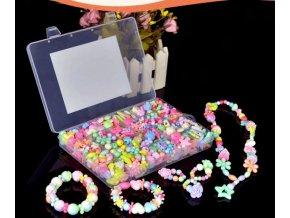 VÝPRODEJ SKLADU- korálky pro malé slečny 450ks s kufříkem- Vhodný jako dárek k Vánocům