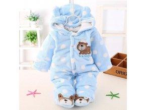Dětské oblečení- overal zimní kojenecký modrý s puntíky- VÝPRODEJ SKLADU