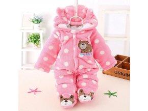 Dětské oblečení- overal zimní kojenecký růžový s puntíky- VÝPRODEJ SKLADU