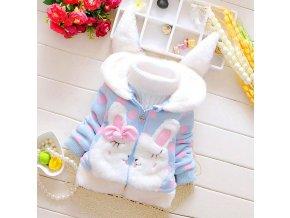 Dětské oblečení- hřejivá zimní krásná dívčí mikina s oušky modrá, růžová - VÝPRODEJ SKLADU