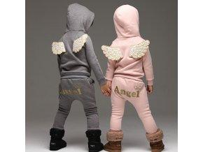 Dětské oblečení- hřejivé teplákové soupravy ANGEL šedá, růžová