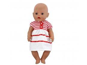 Hračky- bílé pruhované šatičky pro panenky- vhodný jako dárek k Vánocům