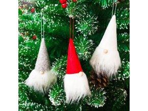 Vánoční dekorace- Vánoční skřítek 3 ks, závěsné na stromeček- VÝPRODEJ SKLADU