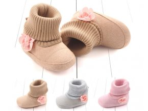 Dětské boty- dívčí teplé capáčky pro nejmenší šedé, růžové, hnědé- VÝPRODEJ SKLADU