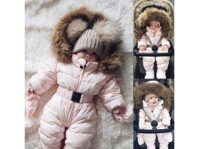 Dívčí zimní overal kombinéza s kožíškem- VÝPRODEJ SKLADU
