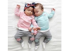 Dětské oblečení- dětský set pro chlapce a dívky kalhoty, tričko modré, růžové- VÝPRODEJ SKLADU
