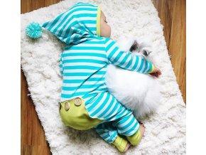 Dětské oblečení- dětský dlouhý pruhovaný overal s kapucí- NÁPAD NA DÁREK