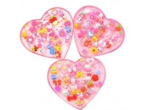 Pro dívky- dárkové balení srdce + prstýnky 36ks - Vhodný jako dárek k Vánocům