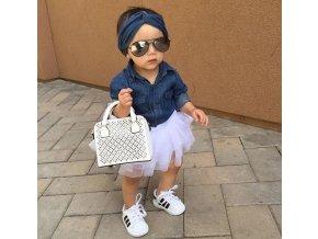 Dětské oblečení- luxusní set pro dívky košile, sukně a čelenka- NÁPAD NA DÁREK