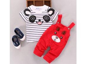 Dětské oblečení- dětský set tričko a kalhoty červený- NÁPAD NA DÁREK