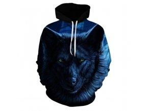 3D Pánská luxusní mikina s modrým temným vlkem až 3XL NEW