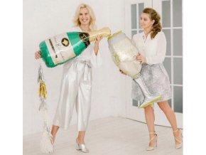 Fóliové balónky ve tvaru šampaňského a skleničky vhodné na Silvestra,párty,svatby