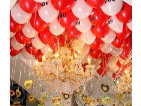 Balonky- nafukovací bílý a červený balonky I LOVE YOU 10ks- Výprodej skladu
