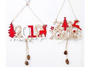 Vánoční dekorace - Ozdoba na zavěšení s rokem 2019