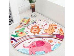 Dětský pokoj- Kulatý koberec se zvířecími motivy průměr 70cm, 3 varianty
