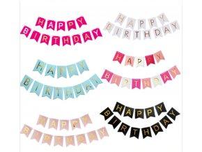 """Narozeninová girlanda """"Happy birthday"""" 15*20cm ve více barvách"""