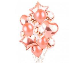 14 mix balonků v barvě golden rose-vhodné na narozeniny, svatbu,párty