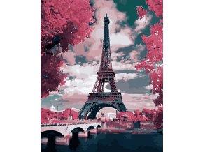 Malování podle čísel na plátno, Eiffelova věž na jaře- Vhodný jako dárek