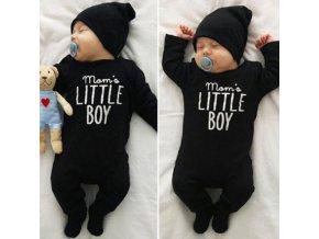 Dětské oblečení- dětský overal Mom´s little boy v černé barvě- 0-24M