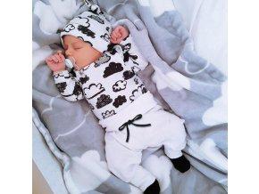 Dětské oblečení- dětský bílý set pro chlapce a dívky čepička, tepláky a tričko- NÁPAD NA DÁREK