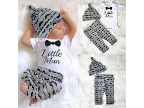 Dětské oblečení- krásný 3 dílný set pro chlapce MY LITTLE MAN- NÁPAD NA DÁREK