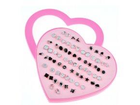 Pro děti - Dětský set naušnic pro dívky 36 párů- černostříbrné