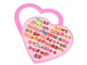 Pro děti - Dětský set naušnic pro dívky 36 párů- OVOCE velké