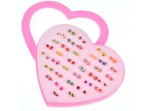 Pro děti - Dětský set naušnic pro dívky 36 párů- OVOCE malé