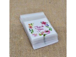 Kuchyně- dárkové sáčky 100ks s nápisem THANK YOU na oslavu, svatbu 7X7cm- VÝPRODEJ SKLADU