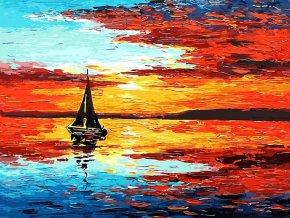 Malování podle čísel na plátno LOĎKA- Vhodný jako dárek