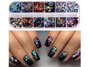 Dekorační glitry na nehty mix barev a 1/2/3mm / SET