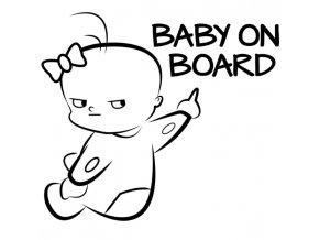 Dekorační samolepka na auto Baby on board holčička- v černé, bílé